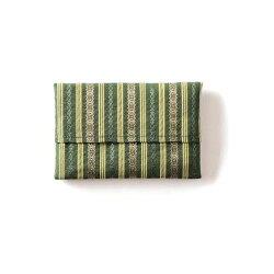 ポケットティッシュケース博多織日本製西村織物おしゃれちり紙入れかわいい博多織小物和風博多お土産海外お土産和装着物プレゼントギフト母の日実用的レディース女性和柄献上柄正絹シルク千本献上緑色