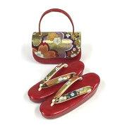 草履バッグセットおしゃれ帯地エナメル高級振袖用バッグレッドかわいい花柄さくら草履三段厚底フリーサイズ振袖成人式和装和服和装小物和装バッグ送料無料