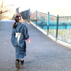 【子供着物KK-1】キッズデニム着物女の子インディゴブルー子供用着物洗える可愛いお揃い遊び着簡単着付け120cm