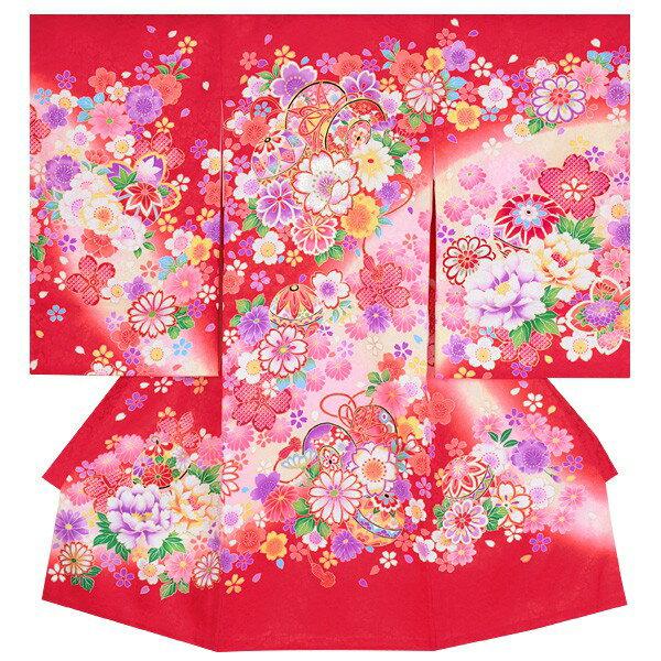 【レンタル】女児産着(祝着) 「SG005 赤 桜に花鼓」正絹 【着物 レンタル】【祝着】【お宮参り】【産着】【産着レンタル】