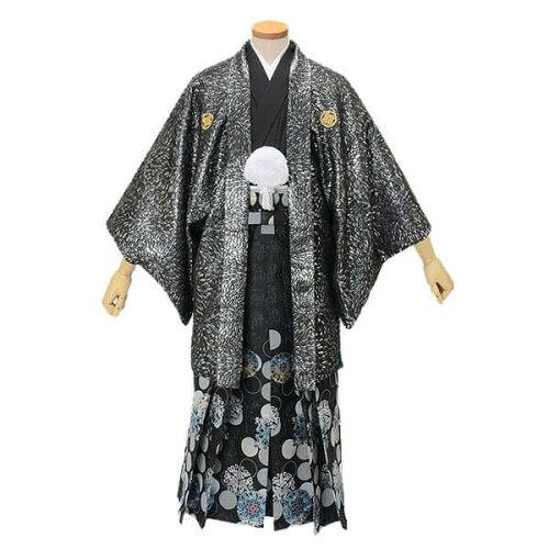 紋付袴レンタル 紋付羽織袴 フルセット黒 むじな菊【...