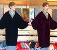ベルベット和装コート光沢が美しいサイズM/L色エンジ・黒へちま衿和装コート日本製アゲハラ・撥水加工済