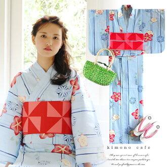 婦女浴衣浴袍和浴衣袍帶 2 集風鈴草藍紅