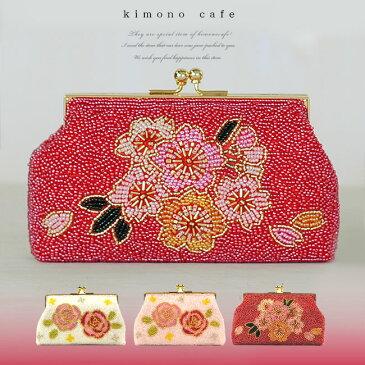 七五三 小物 バッグ 透明感のある日本製ガラス ビーズバッグ 桜・薔薇 赤 白