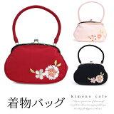 バッグ 単品 がま口 振袖 婚礼 袴 着物 和装 鞄 大人 女性 女物 レディース 桜 八重桜 刺繍 三色 赤 ピンク 黒