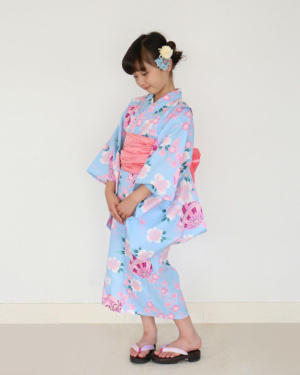KimonoCafe(キモノカフェ)『女の子浴衣帯2点浴衣セット』