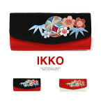 振袖用 バッグ IKKO 桜と鞠 刺繍 横長 クラッチ 手提げ チェーン レトロ ママ振 成人式 卒業式 結婚式 袴 黒 赤