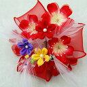 在庫限り お花モチーフ 髪飾り 赤 acs753-040 通...