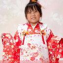 【白×朱赤】《送料無料》【レンタル】3歳女の子用お祝い着☆被布7点セット【レンタル番号:re-...