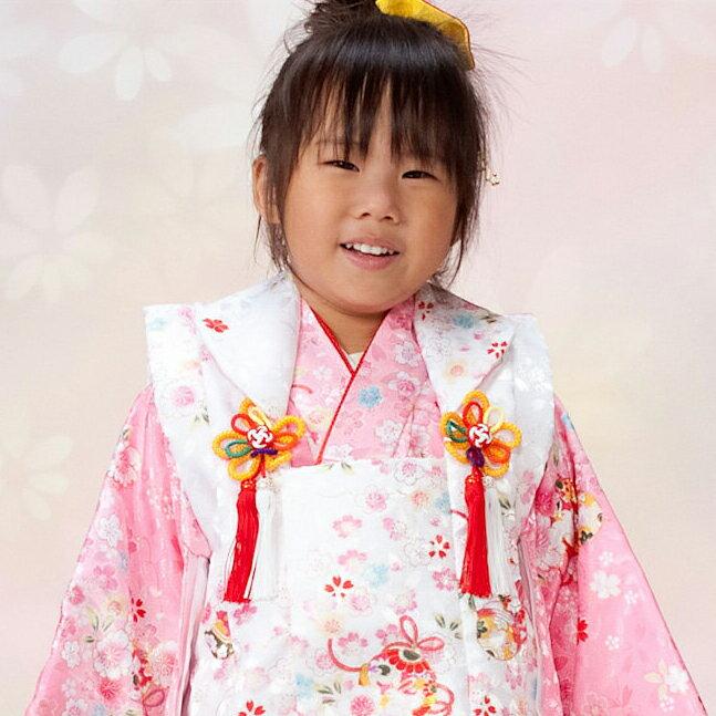 【レンタル】 七五三 753 3歳 3才 女の子 女子 着物セット 被布セット 往復送料無料 re-3kodomo-0060