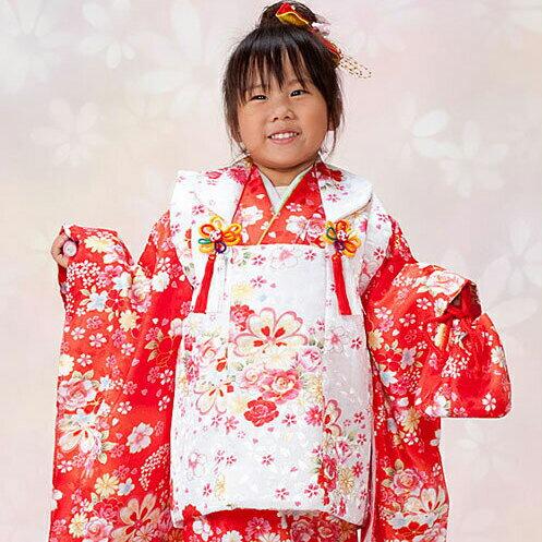 【レンタル】 七五三 753 3歳 女の子 女子 着物セット 被布セット 3歳女の子用被布7点セット きもの 往復送料無料 re-3kodomo-0062