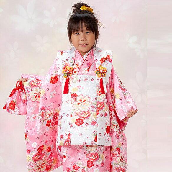 【レンタル】 七五三 753 3歳 女の子 女子 着物セット 被布セット ピンク 赤色 白色 花柄 3歳女の子用被布7点セット きもの 往復送料無料 re-3kodomo-0064