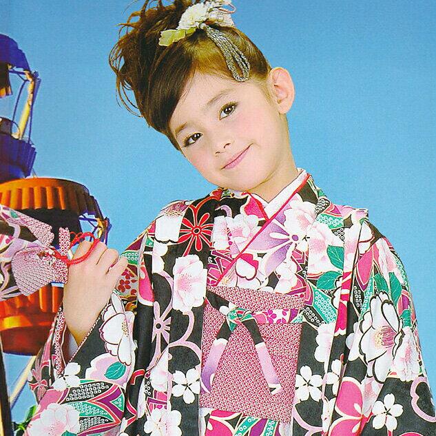 エントリーでポイント5倍!【レンタル】 女の子用 HLブランド アンサンブルセット 着物セット (5歳〜6歳対応) アッシュエルブランド 花柄 きもの 往復送料無料 re-5-6kimono-0007