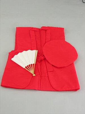還暦レンタル60歳赤色綿入れちゃんちゃんこ・頭巾・センス3点セットレンタル2