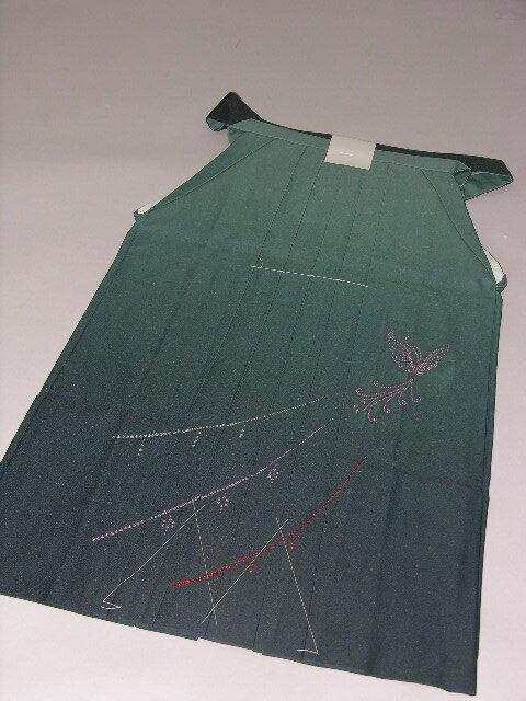 はかま往復送料無料卒業式袴薄グリーンぼかしGVレンタル154cm〜157cmラインストーン