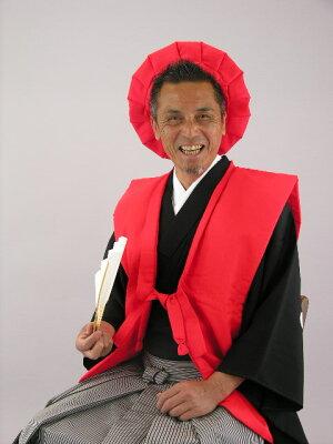 還暦レンタル60歳赤色綿入れちゃんちゃんこ・頭巾・センス3点セットレンタル