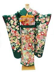 振袖レンタル成人式結婚式宅配フルセット身長155〜165cm対応緑牡丹手毬古典NR-157