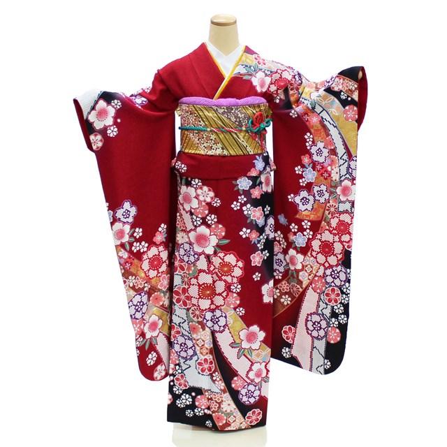 【レンタル】 成人式 振袖 レンタル 赤 格安 フルセット 桜 熨斗 古典 NR-183 ネット 宅配