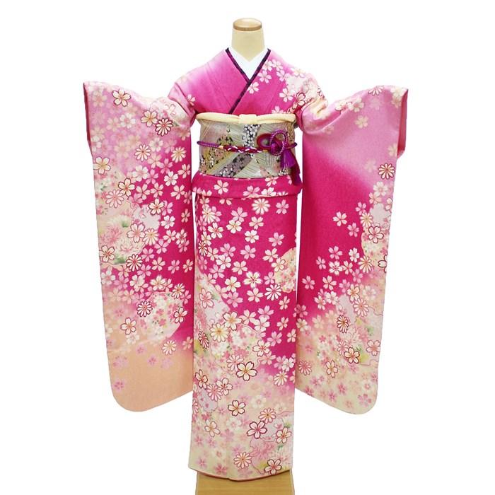 【レンタル】 成人式 振袖 レンタル ピンク 格安 フルセット 可愛い 小花 正絹 高級 着物