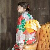 2017「恋する浴衣」浴衣set12:緑色桜楓