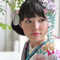 髪飾り 2点セット つまみ細工 「青緑×藤×白 梅」
