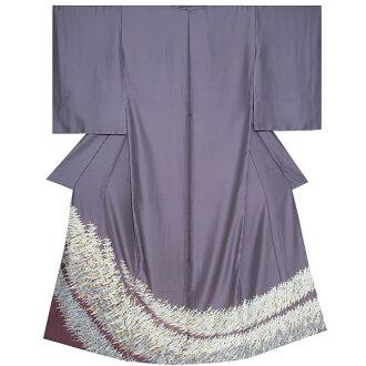 """Colored formal kimono non-one piece of article pure silk fabrics kimono """"thin slate color I run crane"""" crest design Tango crape pure silk fabrics kimono pure silk fabrics colored formal kimono <T made by>"""