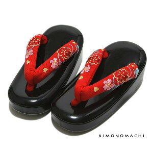七五三 3歳 草履 「赤色×お花の刺繍鼻緒、黒色台」