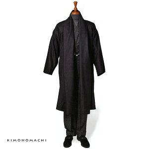 粋な大人の男のお洒落な和装アイテム 和装コートウールの着流し風コート M、L「ブラック」和装...