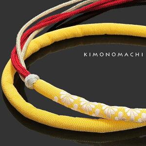 振袖 帯締め「菊菱刺繍の黄色丸