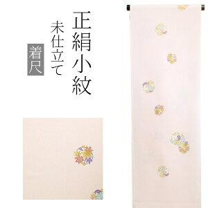 正絹 小紋着尺「薄桃色 楓、桐