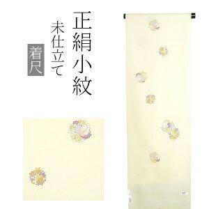 正絹 小紋着尺「薄黄色 楓、桐