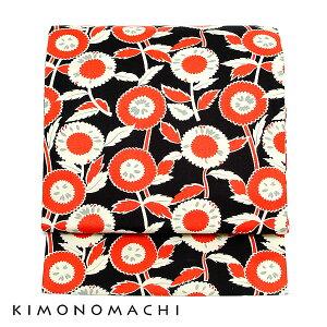 木綿 名古屋帯「黒×赤 レトロ