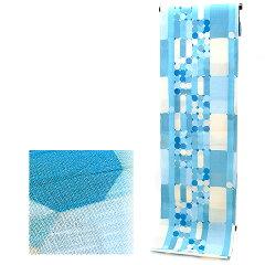 綿麻 浴衣反物「水色 幾何学」