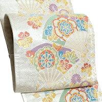 訪問着 礼装 フォーマル 結婚式 袋帯 「銀色 扇、花」 春秋五彩 京都西陣 日本製