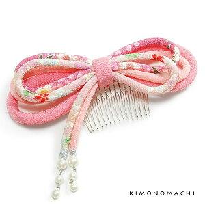 髪飾りリボンコーム 「ピンク色