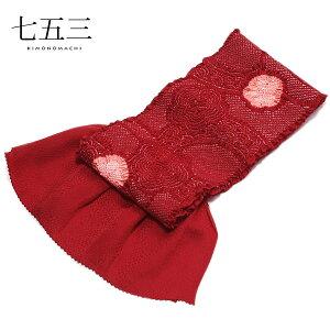 総絞り 帯揚げ「赤色×ピンク色 梅」七五三