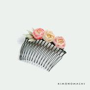 つまみのお花髪飾り「ピンク×黄×赤色 つまみ小花」コーム髪飾り つまみ細工コーム お花コーム