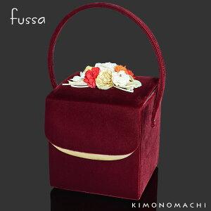 ベルベットコサージュバッグ単品「ワイン」fussa