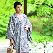 被布衿 和装コート「黒グレー」日本製 ロングコート 着物コート フリーサイズ
