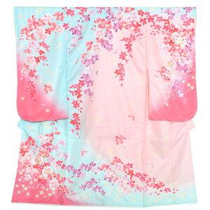 七五三四つ身着物単品「ピンク×水色 蘭」