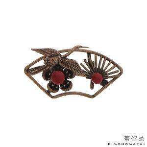 アンティーク調帯留め「扇に鶴、梅と松」和装小物 帯どめ 洒落小物
