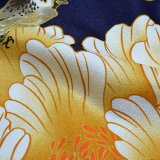 洗える羽織単品「紺色牡丹と鳥」京都きもの町オリジナルお仕立て上がり羽織S、F、TL、LLの4サイズポリエステル【メール便不可】