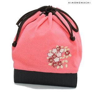 刺繍 巾着「ピンク色 桜の輪刺