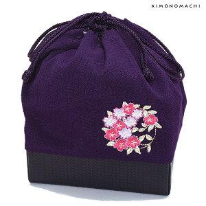 刺繍 巾着「紫色 桜の輪刺繍」