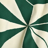 洗える着物二尺袖単品「緑色×クリーム麻の葉」お仕立て上がり二尺袖レトロ卒業式にモダン<H>【メール便不可】