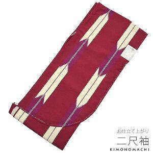 洗える二尺袖単品「ボルドー×紫