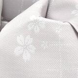 女性用結び帯「白鼠色桜」浴衣帯付け帯作り帯付帯【メール便不可】