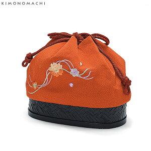 刺繍 籠巾着「オレンジ色 桜の