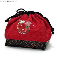 刺繍 籠巾着「赤色 雪輪に桜の