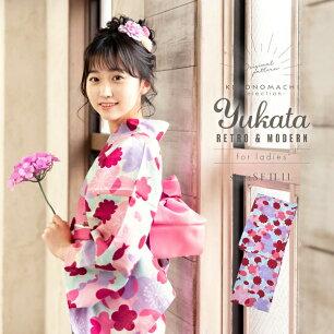 女性 浴衣単品「ピンク×パープル お花と猫とサカナ」